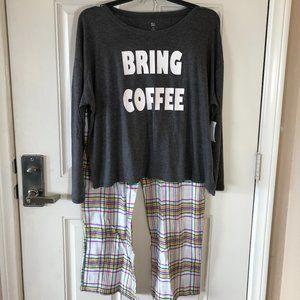 """NWT SO Intimates Pajama Set """"Bring Coffee"""""""